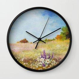 Meadow Wildflowers Acrylic Painting Wall Clock