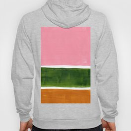 Colorful Minimalist Mid Century Modern Shapes Pink Olive Green Yellow Ochre Rothko Minimalist Square Hoody