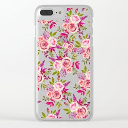 Elegant pink coral green watercolor roses pattern Clear iPhone Case