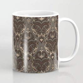 Oriental Pattern -Pastels and Brown Leather texture Coffee Mug