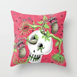 Skull Cachepot with Carnivorous Plants Throw Pillow