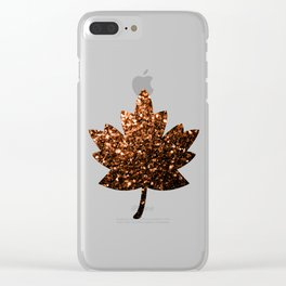Beautiful Bronze Orange Brown glitters sparkles Clear iPhone Case