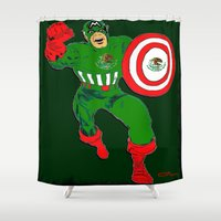 mexico Shower Curtains featuring Captain Mexico  by RDsix3