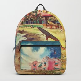 Hawaii's Famous Waikiki Beach landscape painting Backpack