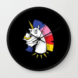Punk unicorn with nose ring and colorful hair Wall Clock