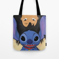 lilo and stitch Tote Bags featuring Lilo & Stitch by Ashleigh Jane