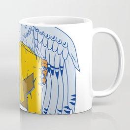 Horned Owl Clutching Spartan Helmet Drawing Coffee Mug