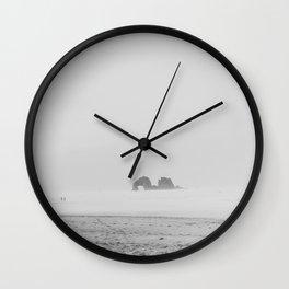 Coastal Fog on Rockaway Beach Wall Clock