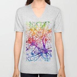 Neural Network Watercolor Neurologist Gifts Unisex V-Neck