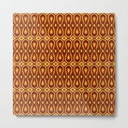 Ikat Teardrops in Dark Rust, Orange and Yellow Metal Print