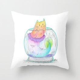 Pet Purrmaid Throw Pillow