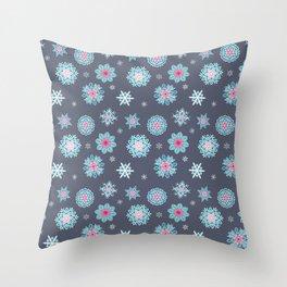 Snowflakes - Rainbow Snowflakes Grey Throw Pillow