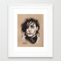 edward scissorhands Framed Art Prints featuring Edward Scissorhands by Stephanie Nuzzolilo