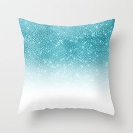 Glamorous Sparkly Aqua Blue Glitter Sequin Ombre Throw Pillow