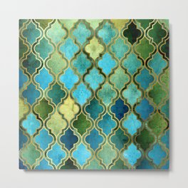 Moroccan Quatrafoil Pattern, Vintage Stained Glass, Blue, Green and Gold Metal Print