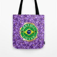 brazil Tote Bags featuring Football Brazil by mewdew