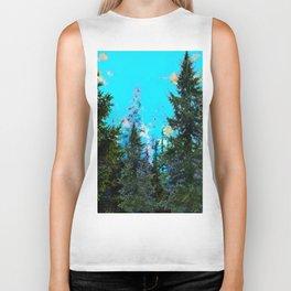 WESTERN PINE TREES LANDSCAPE IN BLUE Biker Tank