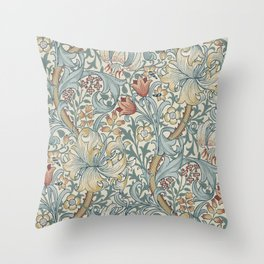 William Morris Vintage Golden Lily Soft Slate & Manilla Throw Pillow