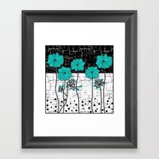 Turquoise flowers on black and white background . Framed Art Print