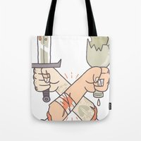 fight Tote Bags featuring Fight! by Stefie Zöhrer