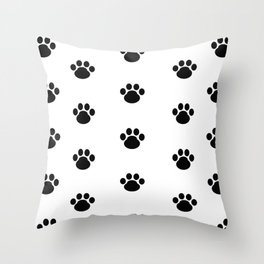 Puppy Dog Paw Prints Throw Pillow