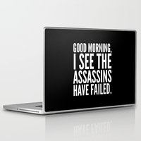 Laptop Skins featuring Good morning, I see the assassins have failed. (Black) by CreativeAngel