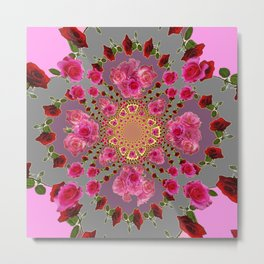 AWESOME PINK-RED ROSES ON  PINK-GREY GARDEN VIGNETTE PATTERN FOR the Metal Print
