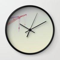 crane Wall Clocks featuring Crane by ToNiceToBeTrue
