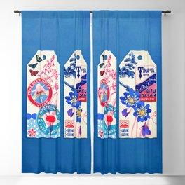 Label Fables, Japan II :: Fine Art Collage Blackout Curtain