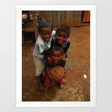 Kids playing soccer Art Print
