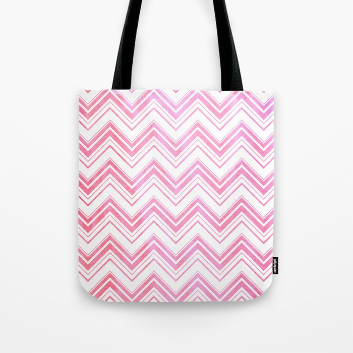Chevron pattern pink watercolor on white #Society6 Tote Bag