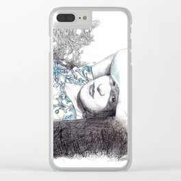 Pencil drawing and collage of Frida resting on the ground and fresh grass. Clear iPhone Case