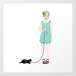 The girl with the ferret Art Print