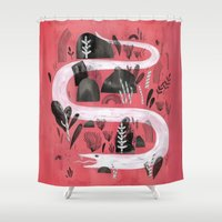 snake Shower Curtains featuring Snake by Maggie Chiang