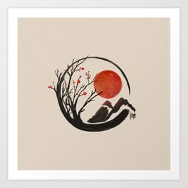 Zen Enso Circle and Sakura Tree  Art Print