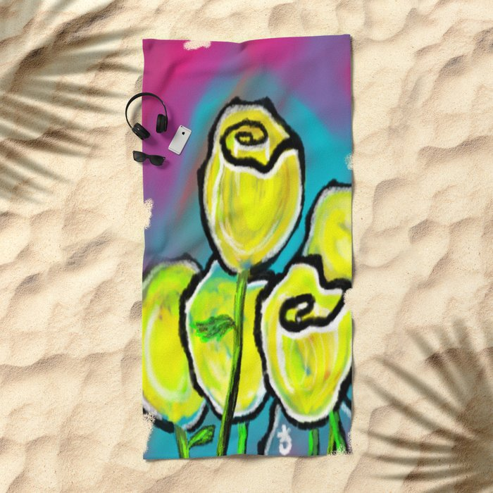 Colorful Yellow Rose Flowers with Purple Blue and Green Beach Towel