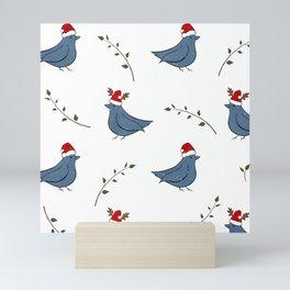 Christmas Santa birds pattern white Mini Art Print