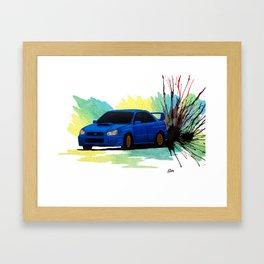 Subaru WRX STi Watercolor Drift Painting Framed Art Print