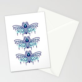 Death's Head Hawkmoth – Navy & Turquoise Palette Stationery Cards