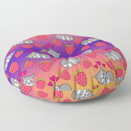 Cute funny sweet adorable sleeping baby raccoons, little pink hearts and red ripe summer strawberries cartoon bright sunny orange purple pattern design Floor Pillow