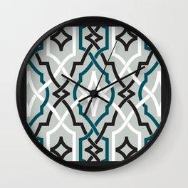 classic modern lattice in black, grey, white & turquoise Wall Clock