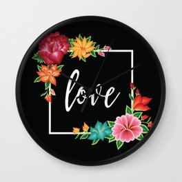 Floral Love I. Wall Clock