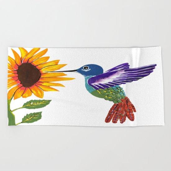 The Sunflower And The Hummingbird Beach Towel