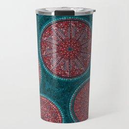 Dot Art Circles Abstract Living coral and teal Travel Mug