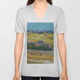 The Harvest by Vincent van Gogh Unisex V-Neck