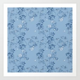 Chinoiserie in China Blue Art Print