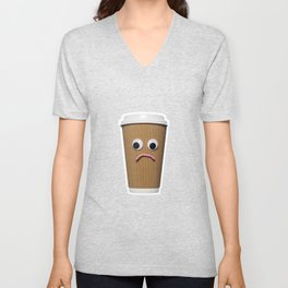 Sad disposable coffee cup on blue Unisex V-Neck