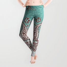 mint paisley inclined Leggings