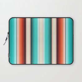 Navajo White, Turquoise and Burnt Orange Southwest Serape Blanket Stripes Laptop Sleeve