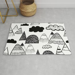 Mountains Scandinavian style black and white pattern Rug